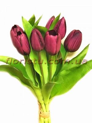 Букет тюльпанов латексных Премиум Бургунди 7 шт. 30 см