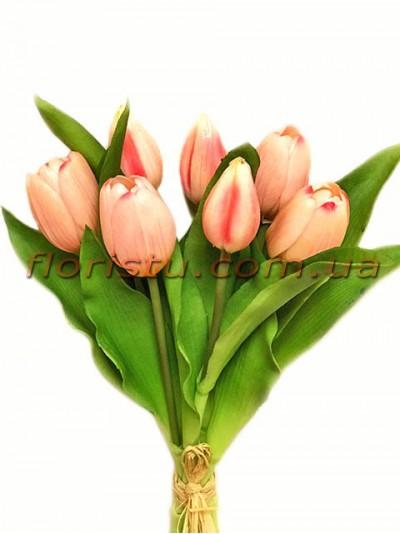 Букет тюльпанов латексных Премиум Светло-розовый 7 шт. 30 см