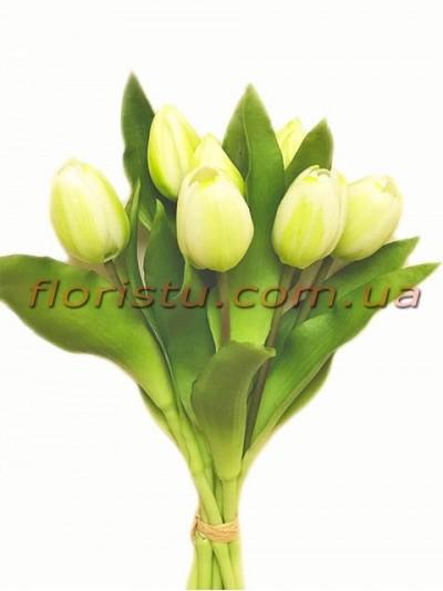 Букет тюльпанов латексных Премиум Белый 7 шт. 30 см