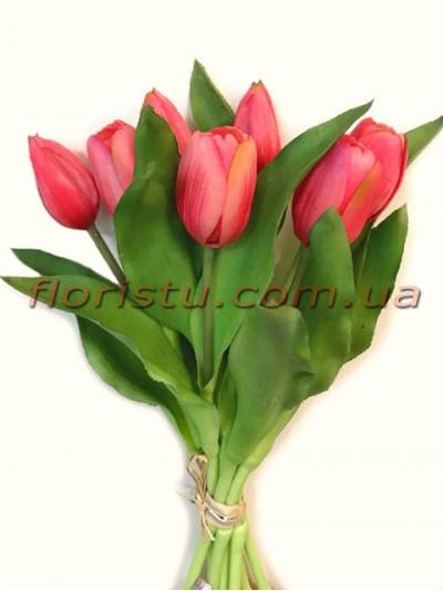Букет тюльпанов латексных Премиум Розовый 7 шт. 30 см