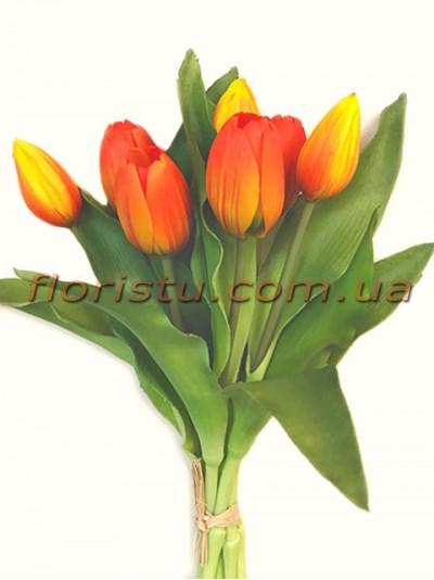 Букет тюльпанов латексных Премиум Оранжевый 7 шт. 30 см