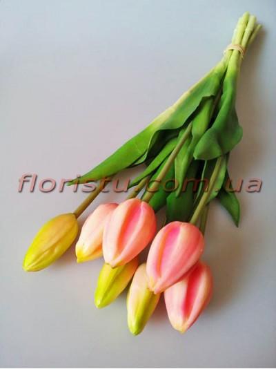 Букет тюльпанов латексных Премиум люкс Нежно-розовый 7 шт. 45 см