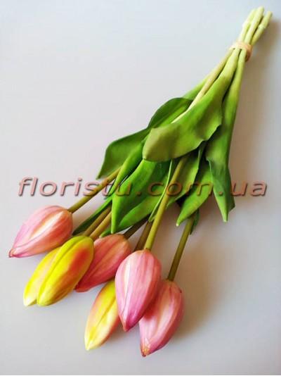 Букет тюльпанов латексных Премиум люкс Нежно-сиреневый 7 шт. 45 см