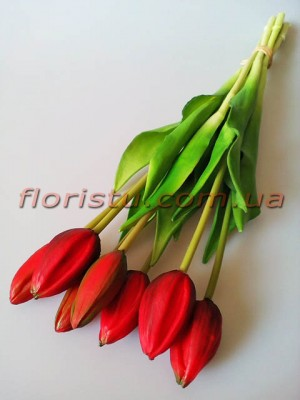 Букет тюльпанов латексных Премиум люкс Бордово-красный 7 шт. 45 см