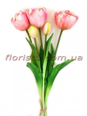 Букет тюльпанов латексных Премиум люкс Нежно-розовый 3 шт. 40 см