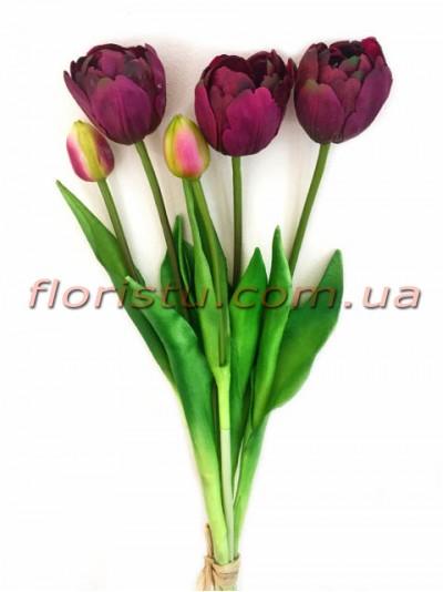 Букет тюльпанов латексных Премиум люкс Бордо 3 шт. 40 см