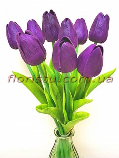 Букет тюльпанов из латекса фиолетовых 9 шт. 30 см