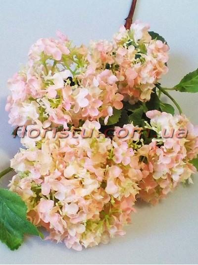 Бульдонеж искусственный премиум класса Персиково-розовый высокая ветка 80 см