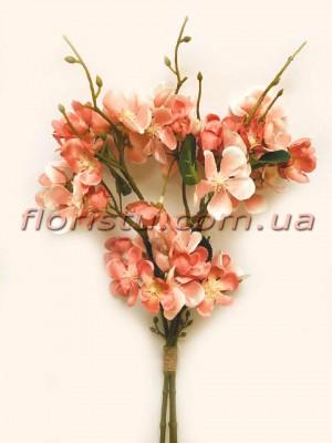 Сакура искусственная букет Персиково-розовая 3 ветки 45 см