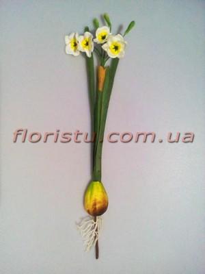 Нарцисс искусственный Белый с луковицей 35 см