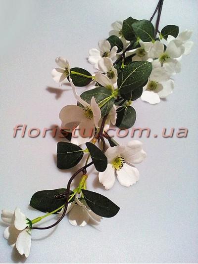 Жасмин искусственная ветка с белыми цветами 105 см