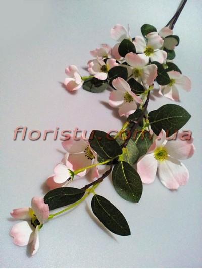 Жасмин искусственная ветка с бело-розовыми цветами 105 см