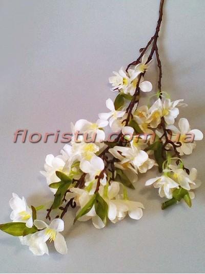 Цветущая весенняя ветка искусственная Белая 90 см