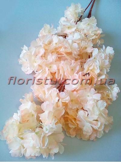 Сакура искусственная ветка свадебная Кремово-розовая 105 см