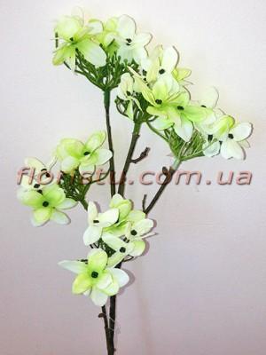 Искусственная веточка Весна бело-салатовая 42 см