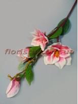 Магнолия искусственая ветка Нежно-розовая 110 см