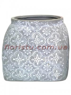 Кашпо керамическое Барокко серо-голубое 12 см