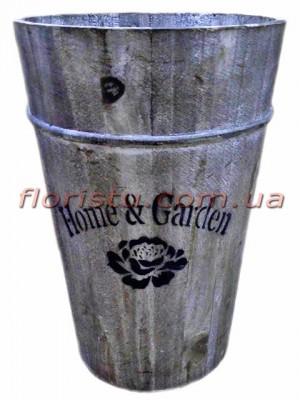 Кашпо деревянное ведро Home & Garden 30 см