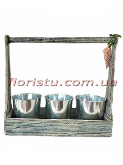 Ящик для инструментов Серый с металлическими кашпо 35 см