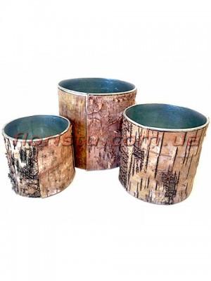 Набор цинковых кашпо с древесной корой 3 шт.