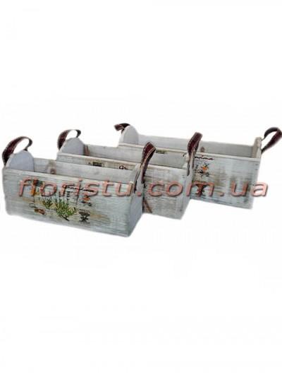 Набор деревянных кашпо с кожанными ручками 3 шт.