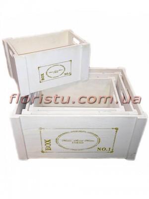 Ящики деревянные для декора ВОХ белые набор 4 шт.
