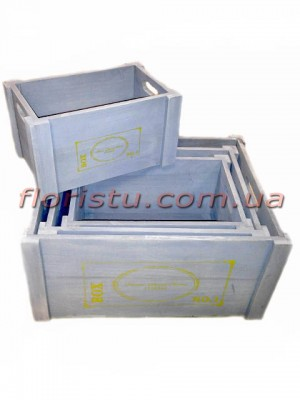 Ящики деревянные для декора ВОХ серые набор 4 шт.