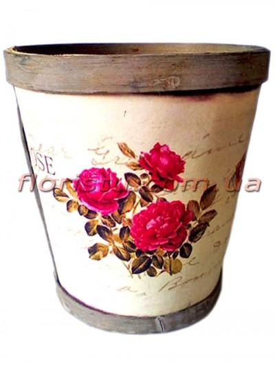 Кашпо деревянное Прованс Розы 14 см