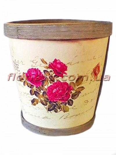 Кашпо деревянное Прованс Розы 13 см