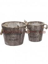 Кашпо GRAND JARDIN деревянные набор 2 шт. 17 см и 13,5 см