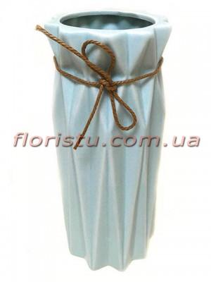 Ваза керамическая со шнурком Origami серо-голубая 25 см