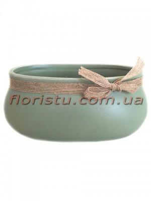 Керамическое кашпо с мешковиной Зеленое 15 см