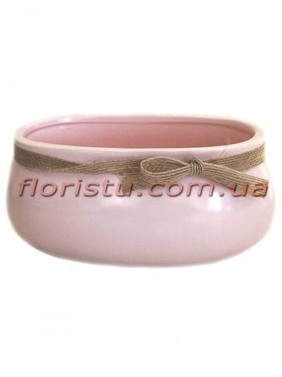 Керамическое кашпо с мешковиной Розовое 15 см