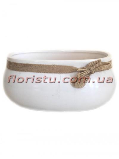 Керамическое кашпо с мешковиной Белое 15 см