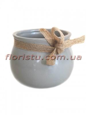 Керамическое кашпо с мешковиной Серое 9 см
