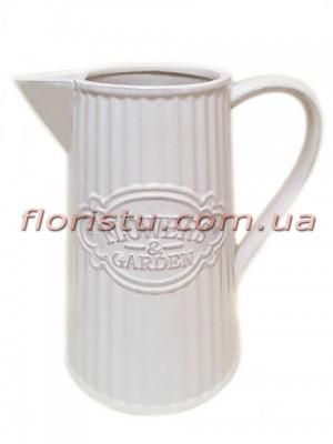 Кувшин с носиком керамический для декора Flowers Garden белый 22 см