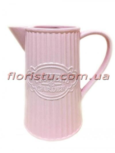 Кувшин с носиком керамический для декора Flowers Garden розовый 22 см