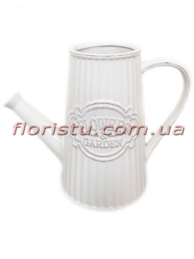 Лейка керамическая для декора Flowers Garden белая 16 см