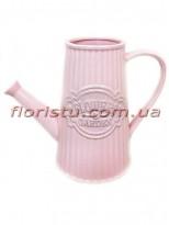 Лейка керамическая для декора Flowers Garden розовая 16 см