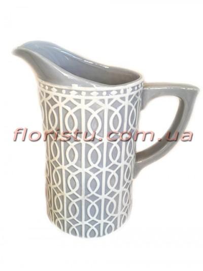 Кувшин керамический для декора Lace серый 24 см