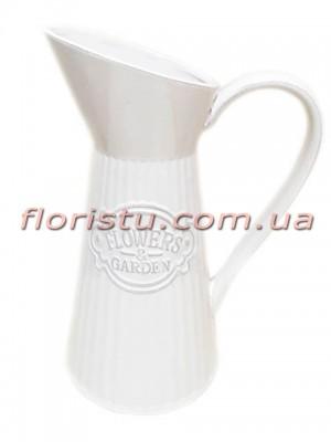 Кувшин керамический для декора Flowers Garden белый 30 см