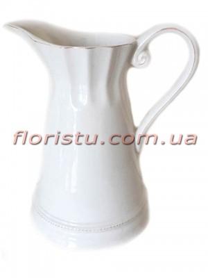 Кувшин керамический винтажный для декора Белый 23 см