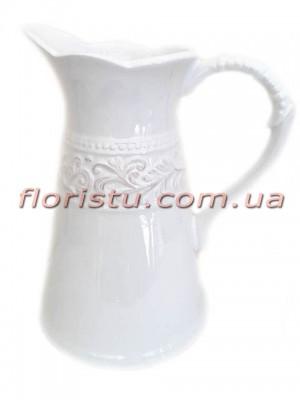 Кувшин керамический для декора Royal белый 21 см