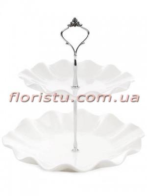 Ваза-этажерка Грация фарфоровая белая 24 см