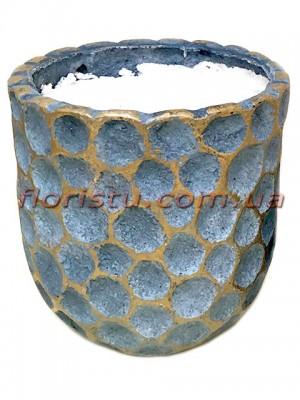 Кашпо керамическое с наполнителем Соты синее 16 см