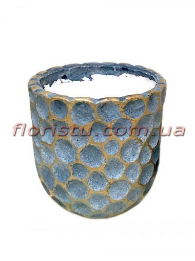 Кашпо керамическое с наполнителем Соты синее 10 см