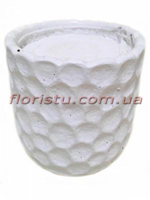 Кашпо керамическое с наполнителем Соты белое 16 см