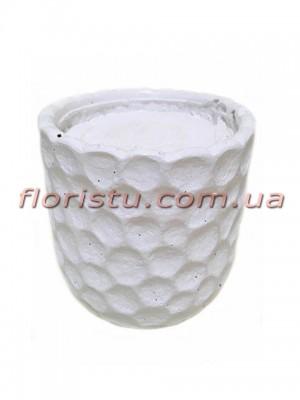 Кашпо керамическое с наполнителем Соты белое 10 см