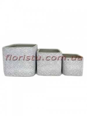 Кашпо керамические набор Барокко светло-серые 16 см, 13 см и 10 см