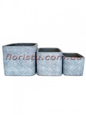 Кашпо керамические набор Барокко серо-голубые 16 см, 13 см и 10 см